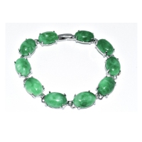 Green Quartz Oval Zinc Alloy Bracelet