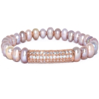 Fresh Water Pearl With Rose Gold Mini Tube Bracelet