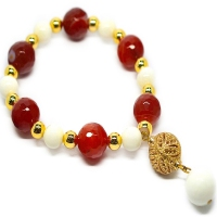 Turkish Charm Mix Stone Resin Bracelet - Red Agate