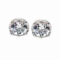White Topaz Round Facets Crown 925 Silver Earring