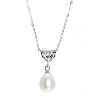 Fresh Water Pearl Tri Heart 925 Silver Pendant With Chain