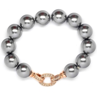 Shell Pearl With Ovate Enhancer Bracelet - Grey