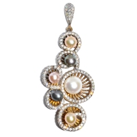 Fresh Water Pearl Multicolor Circle 925 Silver Pendant