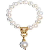 Fresh Water Pearl With Panther Head Dangling Baroque Bracelet - Gold