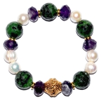 Mix Gemstone & Fresh Water Pearl Bracelet