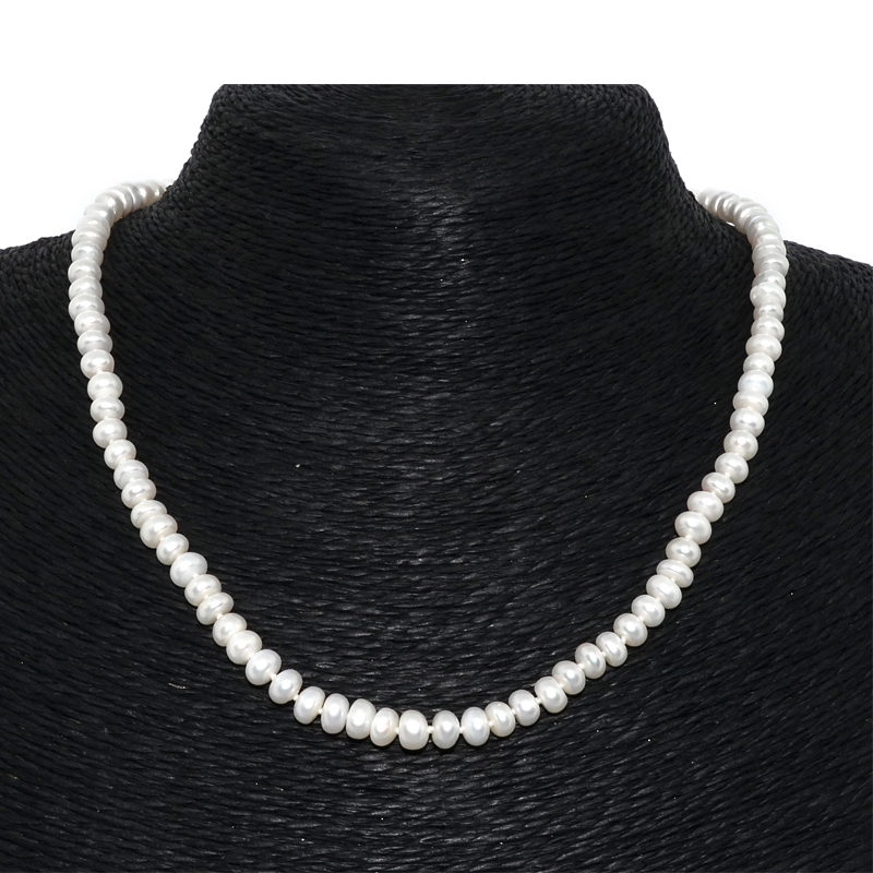 Fresh Water Pearl White Button 6-7mm Necklace - White, Zinc Alloy