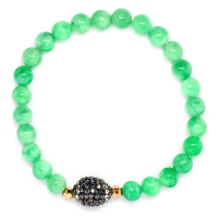 Green Quartz With Russian Zirconia Ball Bracelet
