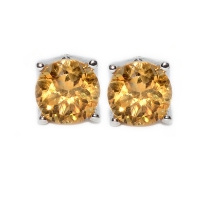 Citrine Round Facets 4 Points 925 Silver Earring