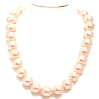 Pearl Shell With Cubic Zirconia Clasp Necklace