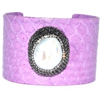 Fresh Water Pearl Baroque Cuff Bangle - Purple