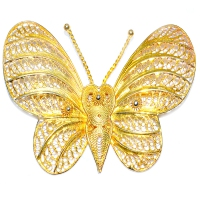 Moth Butterfly 925 Silver Yellow Gold Plating Brooch