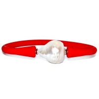 Bohemian Chic Single Fresh Water Baroque Bracelet - Red