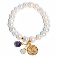Fresh Water Pearl Coin Mix Stone Dangling Bracelet