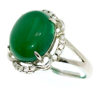 Green Agate Victorian Petal 925 Silver Ring