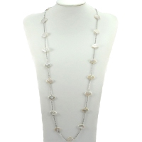 Fresh Water Pearl Clover Stainless Steel Links Necklace