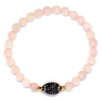 Rose Quartz With Russian Zirconia Ball Bracelet
