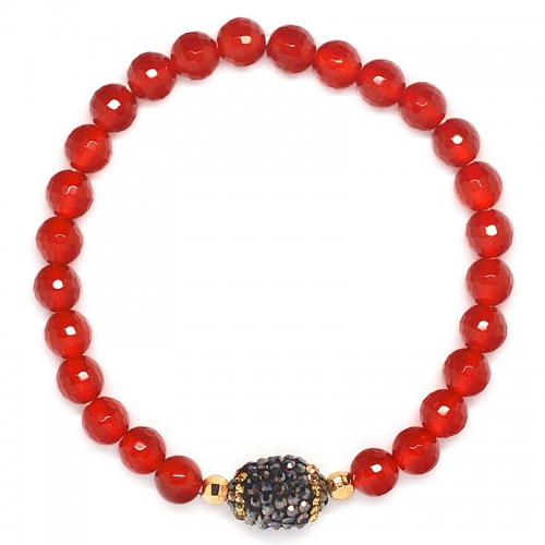 Red Agate With Russian Zirconia Ball Bracelet