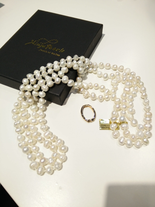 FWP Long 9-10 mm Potato Necklace-White