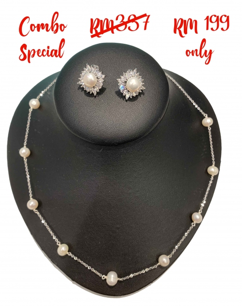 Fresh Water Pearl Stainless Steel Links Necklace & Bling Rhombus Cubic Zirconia Earring Set