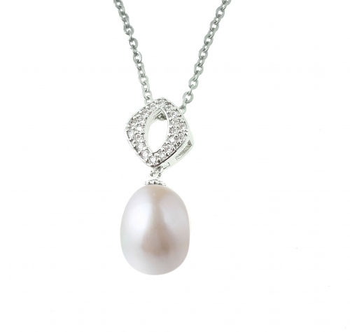 White Pearl Diamond Shape Top Zirconia Pendant with Chain