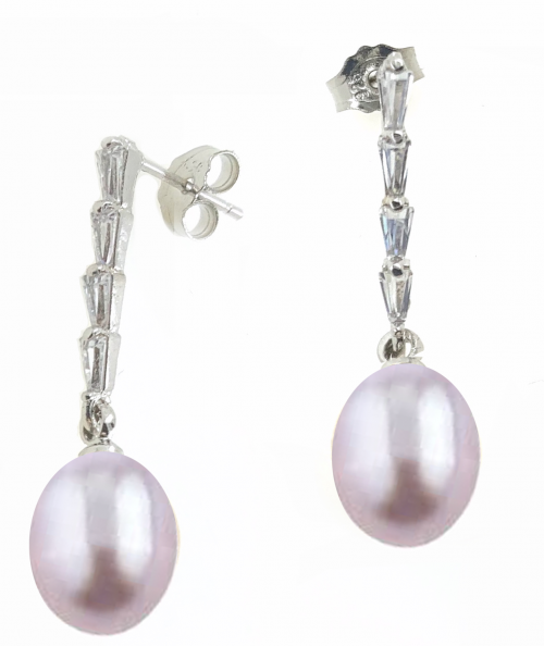 Fresh Water Pearl Tapered Zirconia Dangling Earring