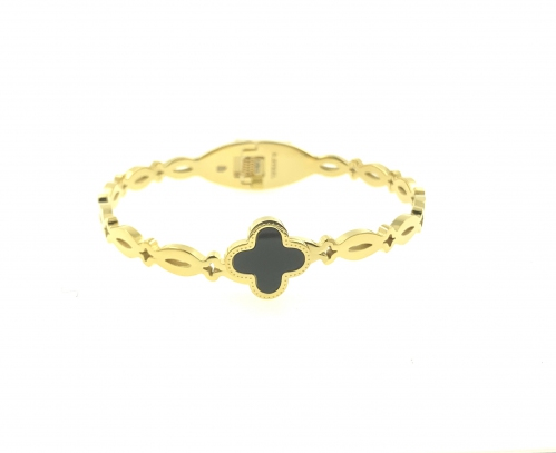 Stainless Steel Black Clover Gold Bangle|MCO Shopping