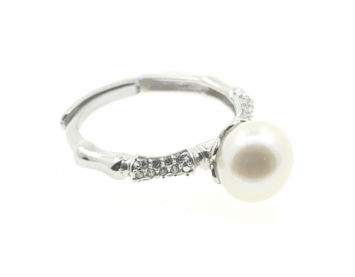 Fresh Water Pearl Side Cubic Zirconia 925 Sterling Silver Ring WGP