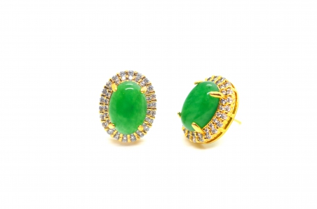 Oval Shape with Zironia Green Quartz Earring