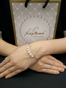 Fresh Water Pearl 2 Link Bracelet - White