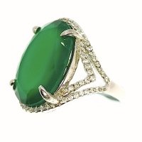 Green Onyx 2 Layer Side V 925 Silver Ring