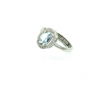 Blue Topaz Oval Faceted Cubiz Zirconia 925 Sterling Silver Ring