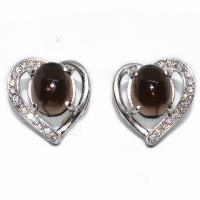 Smoky Quartz Oval Cabochon Heart 925 Silver Earring
