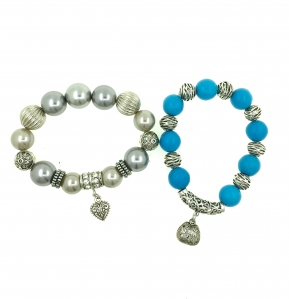 Shell Pearl & Turquoise Combo Bracelet
