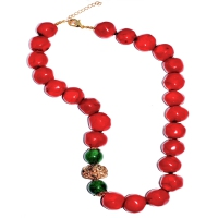 Red Coral with Green Quartz Design Necklace
