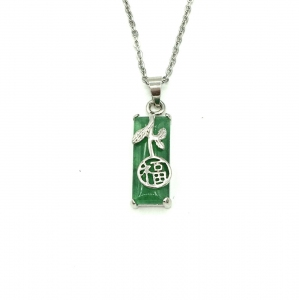 Green Quartz Pendant With Chain - Rectangle with Prosperity