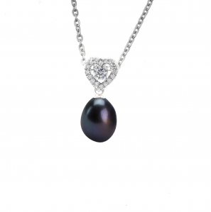 Black Pearl Full Love Zirconia Pendant with Chain