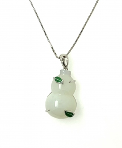 Wu Lo Prosperity White Jade pendant in 925 Sterling Silver with 18K White Gold Rhodium Plating