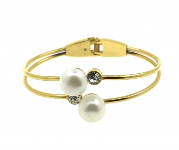 Stainless Steel Fresh Water Pearl Gold Bangle