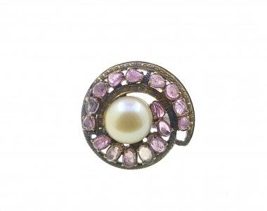 South Sea Pearl with Pink Sapphires Cubic Zirconia 925 Sterling Silver Ring with Black Rhodium Plating MCO