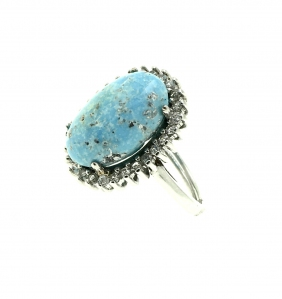 Natural Turquoise Oval Sunflower 925 Sterling Silver Ring