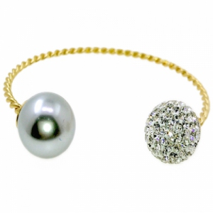 Mystic Twist Russian Zirconia & Shell Pearl Bangle Black Pearl Gold Plated