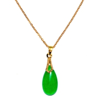 Green Quartz Pendant With Chain - Drop Hooked Gold