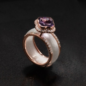 Jade A Grade Amethyst Clover with 925 Ring Jacket with Rose Gold Plating