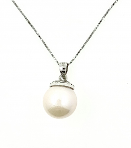 Kazumi Pearl Round Cubic Zirconia 925 Silver Pendant With Chain