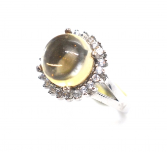 Citrine Round Cabochon Sunflower 925 Silver Ring