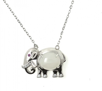 Elephant Prosperity White Jade pendant in 925 Sterling Silver with 18K White Gold Rhodium Plating