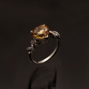 Natural Citrine Heart Twirl Zirconia 925 Sterling Silver Ring with Rhodium Plating Hearts
