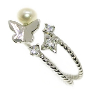 Fresh Water Pearl Butterfly Cubic Zirconia Star 925 Silver Ring