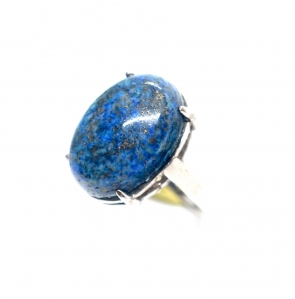 Lapis Lazuli Oval Cabochon Simple 925 Silver Ring