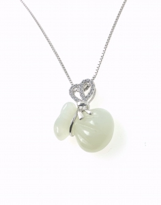 Money Pouch Prosperity Ribbon White Jade pendant in 925 Sterling Silver with 18K White Gold Rhodium Plating